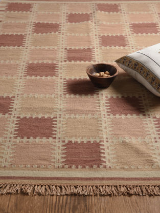 Rust Hand Woven Wool and Cotton Kilim Dhurrie
