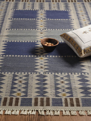 Blue Hand Woven Wool and Cotton Kilim Dhurrie