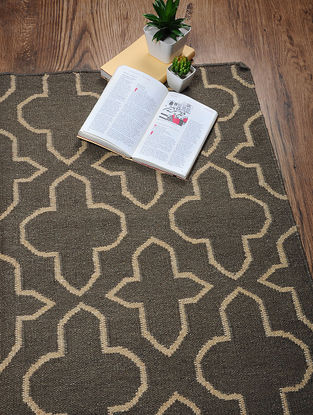 Brown-Beige Hand Woven Cotton Two Tone Dhurrie (6ft.2in x 4ft)
