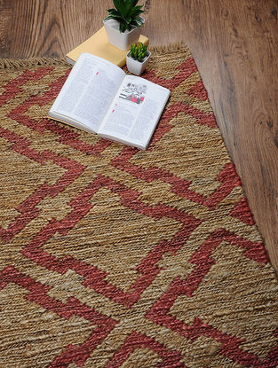 Beige-Red Hand Woven Jute Sumaik Dhurrie (3ft.9in x 2ft)