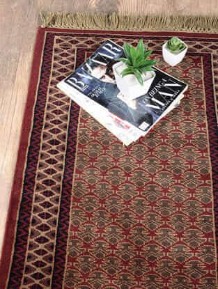 Red-Golden Hand Woven Wool Carpet (3ft x 2ft)