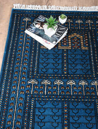 Blue-Multicolored Hand Woven Wool Carpet (5ft x 3ft)