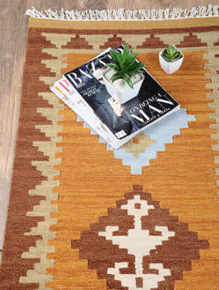 Rust Hand Woven Wool Kilim Dhurrie (3 ft.8in x 2ft.1in)