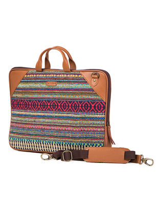 Tan-Multicolored Hand-Crafted Leather and Kilim Laptop Bag