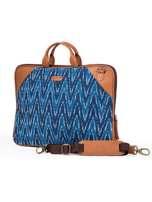 Tan-Blue Hand-Crafted Leather and Ikat Durrie Laptop Bag