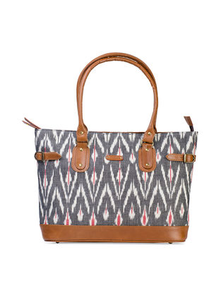 Tan-Grey Hand-Crafted Leather and Ikat Durrie Tote