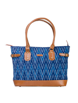 Tan-Blue Hand-Crafted Leather and Ikat Durrie Tote