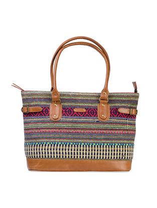 Tan-Multicolored Hand-Crafted Leather and Ikat Durrie Tote