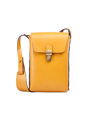 Mustard Hand-Crafted Leather Sling Bag