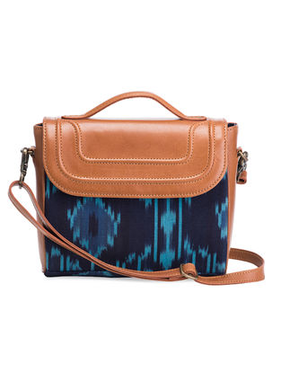 Tan-Blue Hand-Crafted Leather and Ikat Sling Bag