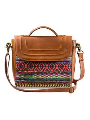 Tan-Multicolored Hand-Crafted Leather and Kilim Sling Bag