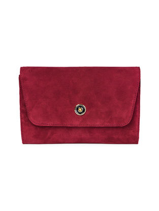 Maroon Hand-Crafted Suede Clutch