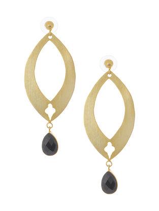 Quartz Gold Tone Brass Earrings