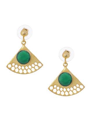 Quartz Gold Tone Brass Earrings with Jali Work