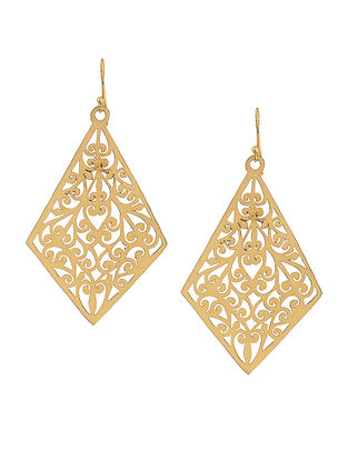 Classic Gold Tone Brass Earrings with Jali Work