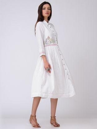 Beige Embroidered Cotton Khadi Dress