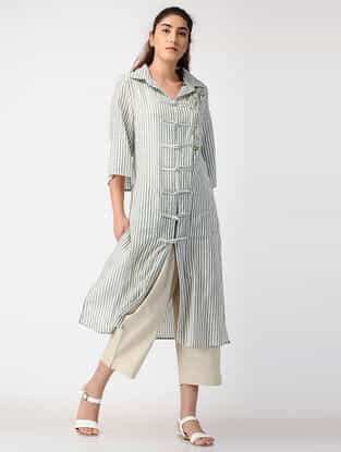 Grey Striped Handwoven Organic Cotton Jacket with Embroidery