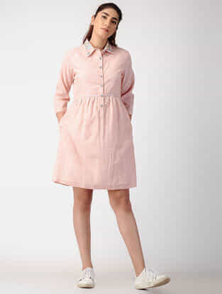 Pink Handwoven Organic Cotton Dress with Embroidery