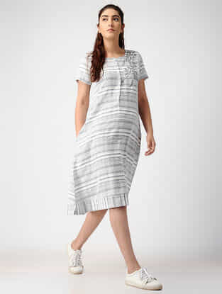 Ivory-Grey Striped Handwoven Organic Cotton Dress with Embroidery