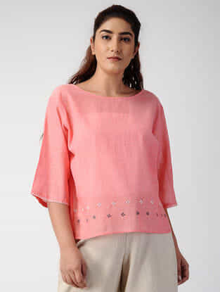 Pink Handwoven Organic Cotton Top with Embroidery