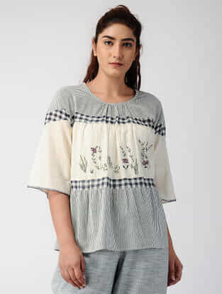 Grey-Ivory Handwoven Organic Cotton Top with Embroidery