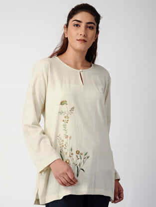 Beige Handwoven Organic Cotton Top with Embroidery