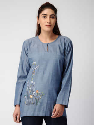 Blue Handwoven Organic Cotton Top with Embroidery