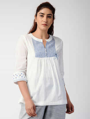 White-Blue Handwoven Organic Cotton Top with Embroidery