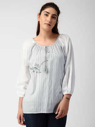 Ivory-Grey Striped Handwoven Organic Cotton Top with Embroidery
