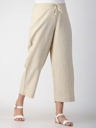 Beige Tie-up Elasticated Waist Handwoven Organic Cotton Pants
