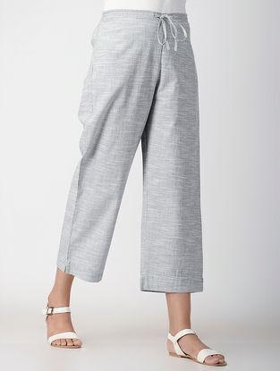 Grey Tie-up Elasticated Waist Handwoven Organic Cotton Pants