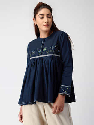 Navy Blue Pleated Handwoven Cotton Top with Embroidery