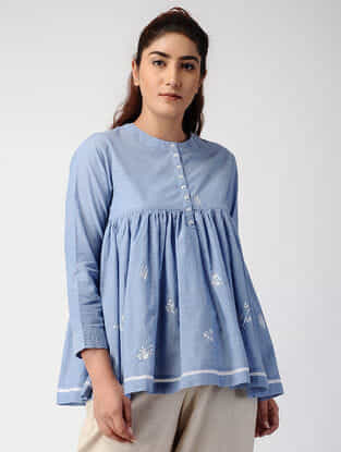 Blue Pleated Handwoven Organic Cotton Top with Embroidery