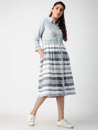 Grey-Ivory Pleated Handwoven Organic Cotton Dress with Embroidery