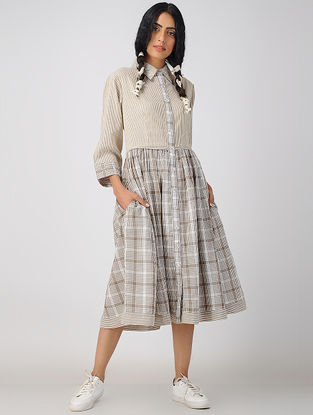 Brown Handwoven Organic Cotton Dress with Applique Work
