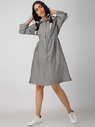 Grey Handwoven Organic Cotton-Chambray Dress with Embroidery