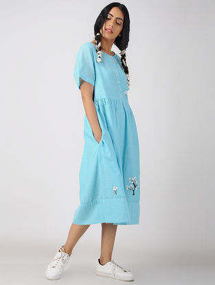Blue Handwoven Organic Cotton-Voile Dress with Embroidery