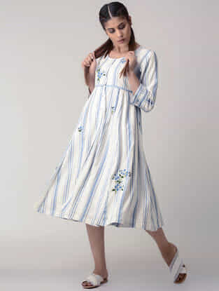 White-Blue Handwoven Gathered Organic Cotton Dress with Embroidery