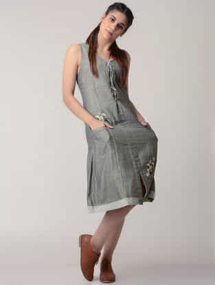 Grey Tie-up Handwoven Organic Cotton Dress with Embroidery
