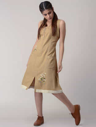 Brown Tie-up Handwoven Organic Cotton Dress with Embroidery