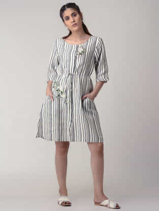 Grey-White Tie-up Waist Handwoven Organic Cotton Dress with Embroidery
