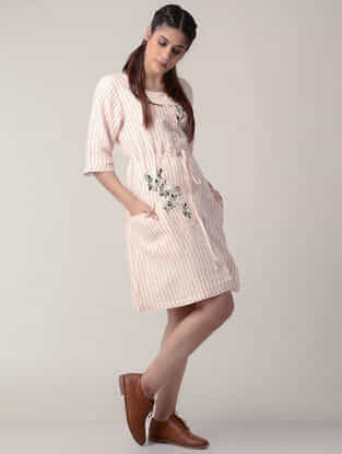Pink-White Tie-up Waist Handwoven Organic Cotton Dress with Embroidery