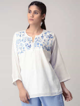 White Handwoven Organic Cotton Top with Embroidery