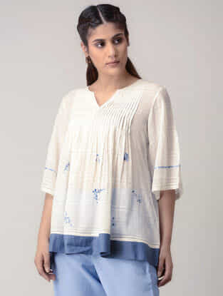 White Handwoven Pleated Organic Cotton Top with Embroidery