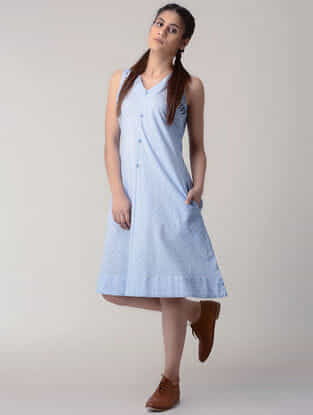 Blue Handwoven Organic Cotton Dress with Embroidery
