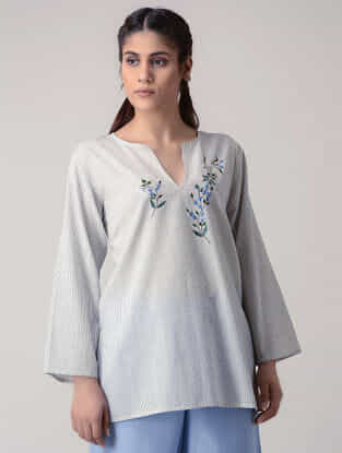 Grey Handwoven Organic Cotton Top with Embroidery