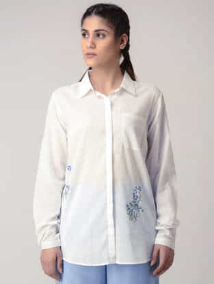 White Handwoven Organic Cotton Shirt with Embroidery