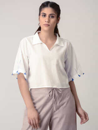 White Handwoven Organic Cotton Crop Top with Embroidery