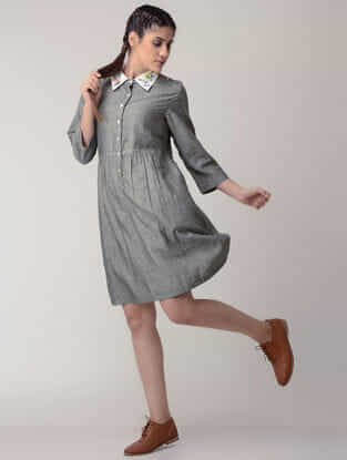 Grey Handwoven Organic Cotton Dress with Embroidery
