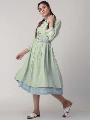 Green Handwoven Gathered Organic Cotton Dress with Embroidery